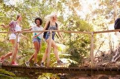 Groupe d'amis féminins sur la promenade croisant le pont en bois Image stock