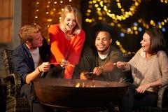 Groupe d'amis faisant cuire des saucisses par Firepit Photo stock