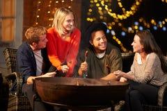 Groupe d'amis faisant cuire des saucisses par Firepit Image libre de droits