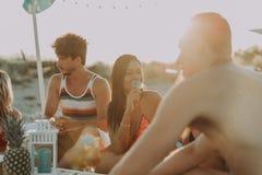 Groupe d'amis faisant la partie sur la plage au temps de coucher du soleil Images stock