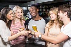 Groupe d'amis grillant avec de la bière et le vin Photos stock