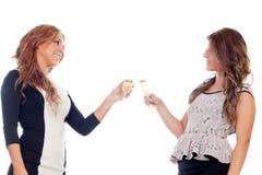 Groupe d'amis grillant avec le champagne dans Noël Photographie stock