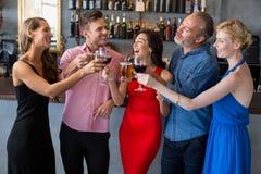 Groupe d'amis grillant des verres de bière et de vin Photos libres de droits