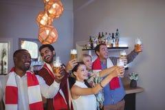 Groupe d'amis grillant des verres de bière tout en regardant la rencontre Photographie stock libre de droits