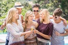 Groupe d'amis grillant des verres de champagne Photos stock