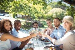 Groupe d'amis grillant des verres de vin dans un restaurant Photo libre de droits