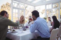 Groupe d'amis grillant des verres de vin pendant le déjeuner Image libre de droits