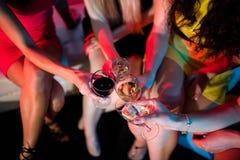 Groupe d'amis grillant le verre de champagne Photographie stock