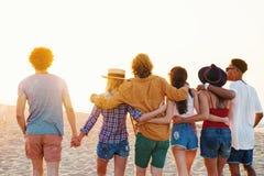 Groupe d'amis heureux ayant l'amusement à la plage d'océan Photos stock