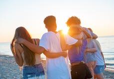Groupe d'amis heureux ayant l'amusement à la plage d'océan Images libres de droits