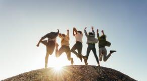 Groupe d'amis heureux ayant l'amusement sur le dessus de montagne images libres de droits