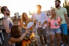 Groupe d'amis heureux ayant la partie sur le dessus de toit Photographie stock