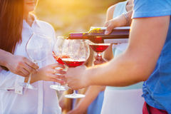 Groupe d'amis heureux ayant le vin rouge sur la plage Images stock
