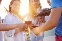Groupe d'amis heureux ayant le vin rouge sur la plage Photo stock