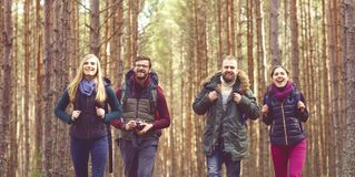 Groupe d'amis heureux et jeunes marchant dans la forêt et appréciant un g Images libres de droits
