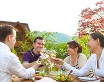 Groupe d'amis heureux grillant des verres de vin dans le jardin Photographie stock libre de droits