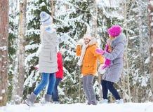 Groupe d'amis heureux jouant des boules de neige dans la forêt Image libre de droits