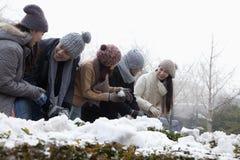 Groupe d'amis jouant dans la neige, faisant des boules de neige et rire Images libres de droits
