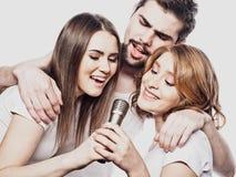 Groupe d'amis jouant le karaoke au-dessus du fond blanc concept au sujet de l'amitié et des personnes Images libres de droits