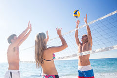 Groupe d'amis jouant le volleyball Images stock