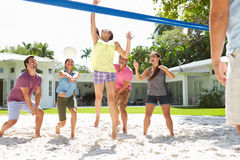 Groupe d'amis jouant le volleyball dans le jardin Image stock