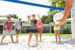 Groupe d'amis jouant le volleyball dans le jardin Photographie stock libre de droits