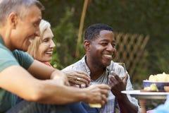 Groupe d'amis mûrs appréciant des boissons dans l'arrière-cour ensemble Photos stock