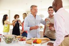 Groupe d'amis mûrs appréciant le dîner à la maison Photo stock