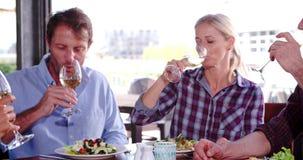 Groupe d'amis mûrs appréciant le repas dans le restaurant ensemble banque de vidéos
