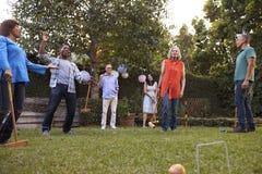Groupe d'amis mûrs jouant le croquet dans l'arrière-cour ensemble Photographie stock libre de droits