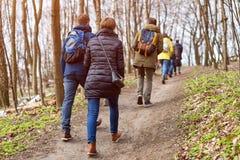 Groupe d'amis marchant avec la forêt de sacs à dos au printemps du dos Randonneurs trimardant dans les bois Aventure, voyage Images libres de droits