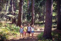 Groupe d'amis marchant ensemble dans la forêt Photos libres de droits