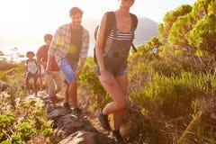 Groupe d'amis marchant le long du chemin côtier ensemble Image stock