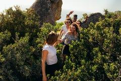 Groupe d'amis marchant par une traînée de montagne Photo stock