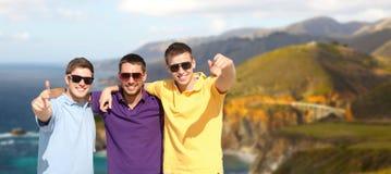 Groupe d'amis masculins étreignant au-dessus de la côte de Big Sur Photo stock