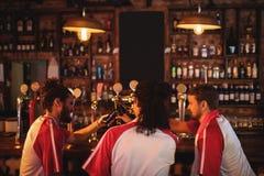 Groupe d'amis masculins grillant des bouteilles à bière Photographie stock