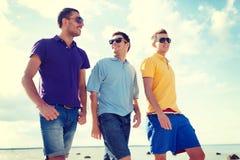 Groupe d'amis masculins marchant sur la plage Photo libre de droits