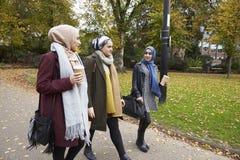 Groupe d'amis musulmans britanniques de femmes marchant par le parc Photographie stock