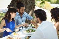 Groupe d'amis prenant le déjeuner Photographie stock libre de droits