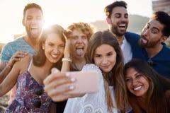 Groupe d'amis prenant le selfie ayant ensemble l'amusement Photo libre de droits