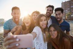 Groupe d'amis prenant le selfie sur la plage ayant l'amusement Photo libre de droits