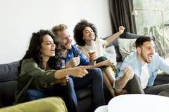 Groupe d'amis regardant TV, cidre potable et ayant l'amusement Images libres de droits