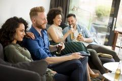 Groupe d'amis regardant TV, cidre potable et ayant l'amusement Photographie stock libre de droits