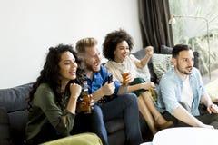 Groupe d'amis regardant TV, cidre potable et ayant l'amusement Photo stock