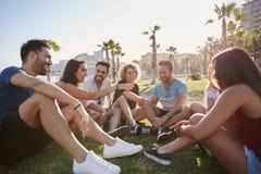 Groupe d'amis s'asseyant dehors dans parler de cercle Photos libres de droits