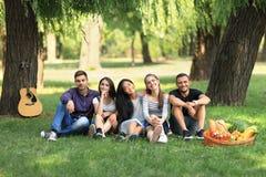 Groupe d'amis s'asseyant en parc sur l'herbe et regardant l'appareil-photo Photographie stock libre de droits