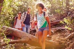 Groupe d'amis sautant par-dessus le tronc d'arbre sur la promenade de campagne Photo stock