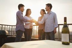 Groupe d'amis se grillant sur le dessus de toit au coucher du soleil Images stock