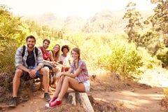 Groupe d'amis se reposant sur la promenade par la campagne Images stock