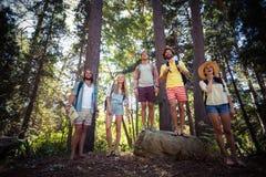 Groupe d'amis se tenant ensemble dans la forêt Photo libre de droits